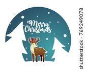 christmas reindeer with pilgrim ... | Shutterstock .eps vector #769249078