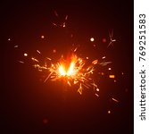 christmas sparkler in haze with ... | Shutterstock . vector #769251583