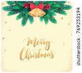 christmas tempalte with fir...   Shutterstock .eps vector #769253194
