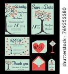 wedding invitation   save the... | Shutterstock .eps vector #769253380
