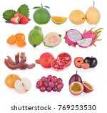 fruits isolated on white... | Shutterstock . vector #769253530