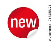 new label sticker red | Shutterstock .eps vector #769255126