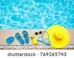 swimming pool accessories flat...   Shutterstock . vector #769265743
