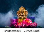 hindu goddess lakshmi. statue... | Shutterstock . vector #769267306
