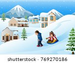 father pulling his son riding... | Shutterstock . vector #769270186