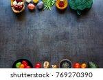 flat lay of fresh ingredients.... | Shutterstock . vector #769270390