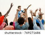 guitarist playing at a music... | Shutterstock . vector #769271686