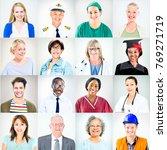 portraits of multiethnic mixed...   Shutterstock . vector #769271719