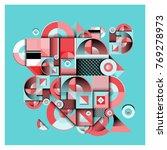 trendy curvy geometric memphis... | Shutterstock .eps vector #769278973