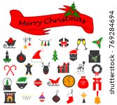 set of christmas vector icons.... | Shutterstock .eps vector #769284694