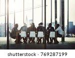 group of diverse people having... | Shutterstock . vector #769287199
