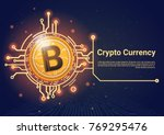 crypto currency bitcoin banner...   Shutterstock .eps vector #769295476