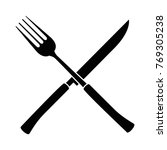 fork and knife cutlery tool icon | Shutterstock .eps vector #769305238