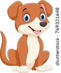 cute little dog cartoon sitting  | Shutterstock . vector #769321648