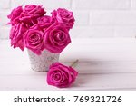 bright pink roses flowers in...   Shutterstock . vector #769321726