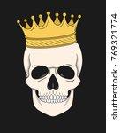 skull with gold crown. vector... | Shutterstock .eps vector #769321774