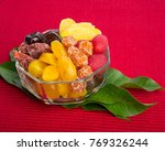 Small photo of preserved fruits or mix preserved fruits on the background