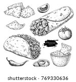 mexican food drawing.... | Shutterstock .eps vector #769330636