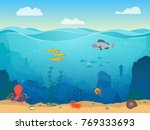 cartoon sea underwater nature... | Shutterstock .eps vector #769333693