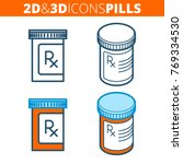 the pill bottle. flat and... | Shutterstock .eps vector #769334530