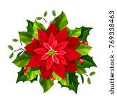 vector red christmas poinsettia ... | Shutterstock .eps vector #769338463