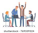 colleagues work on project... | Shutterstock .eps vector #769339324