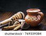 mexican hot cocoa with... | Shutterstock . vector #769339384