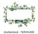 Stock photo watercolor hand painted banner with green eucalyptus leaves and branches spring or summer flowers 769341400