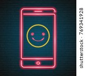 emoji smile with phone symbol... | Shutterstock .eps vector #769341928