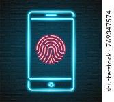 phone fingerprint symbol neon...