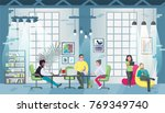 coworking office concept design ... | Shutterstock .eps vector #769349740