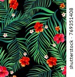 seamless hand drawn exotic... | Shutterstock .eps vector #769351408