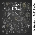 vector forest christmas set on... | Shutterstock .eps vector #769356484