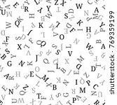 seamless pattern with alphabet  ... | Shutterstock . vector #769359199