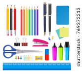 realistic stationery icon set....   Shutterstock . vector #769372213