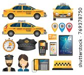 online taxi concept.big set of... | Shutterstock .eps vector #769378750