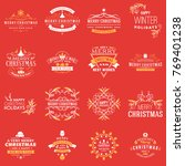 set of merry christmas and... | Shutterstock .eps vector #769401238