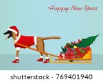 a dog in a santa claus hat... | Shutterstock .eps vector #769401940