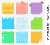 bright square colored sheets of ... | Shutterstock . vector #769405258