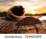 soil for planting with bag over ... | Shutterstock . vector #769405399