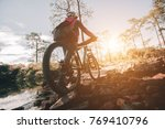 mountain bike cyclist riding...   Shutterstock . vector #769410796