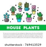 house plants in flower pots... | Shutterstock .eps vector #769413529