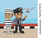 african police using drone to... | Shutterstock . vector #769417570