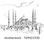 sketch of blue mosque... | Shutterstock .eps vector #769421530