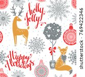 christmas seamless pattern with ... | Shutterstock .eps vector #769422346