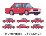red sedan set. saloon type of... | Shutterstock .eps vector #769422424