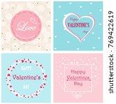 set of 4 postcards valentine's... | Shutterstock .eps vector #769422619