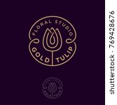 gold tulip logo. flower... | Shutterstock .eps vector #769428676