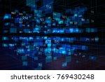 abstract glowing digital warp...   Shutterstock . vector #769430248