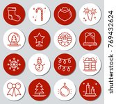 Christmas New Year Icons Gift...